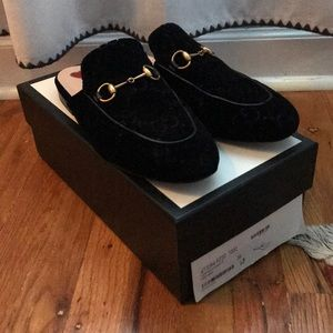 Gucci velvet Princetown slides size 38